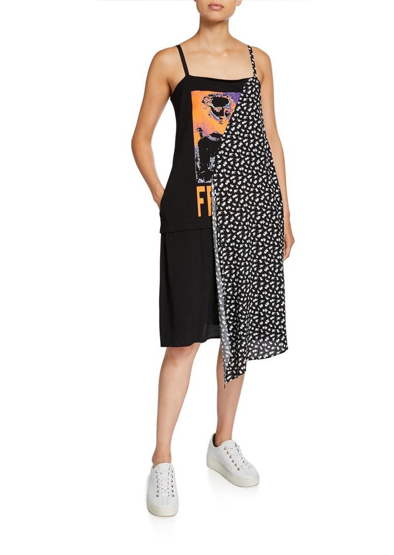 McQ Alexander McQueen Draped Sleeveless Graphic Dress