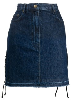 McQ Alexander McQueen drawstrings denim skirt