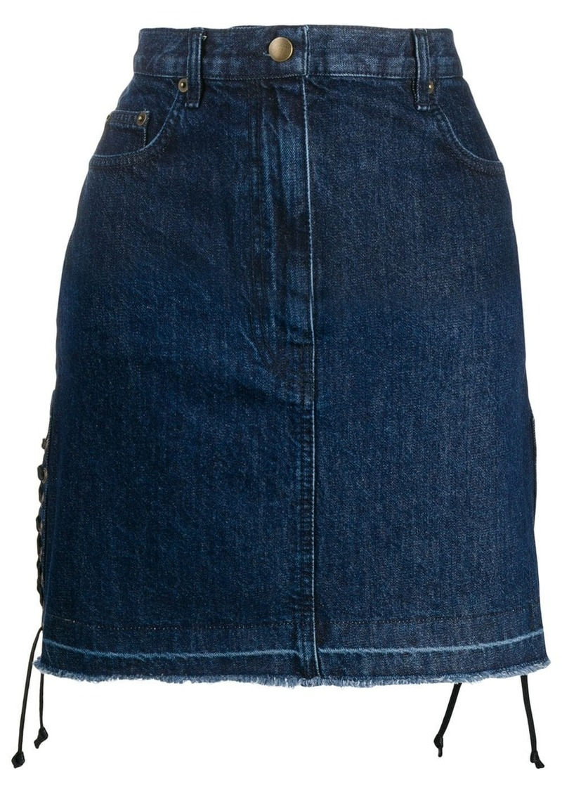 McQ Alexander McQueen drawstrings denim skirt