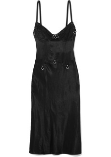McQ Alexander McQueen Embellished lace-trimmed hammered-satin dress