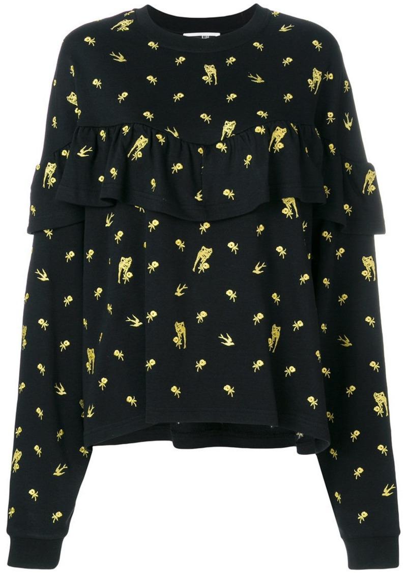 McQ Alexander McQueen embroidered floral detail sweatshirt