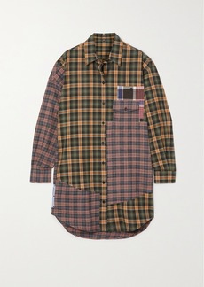 McQ Alexander McQueen End Of Line Oversized Checked Cotton Mini Shirt Dress