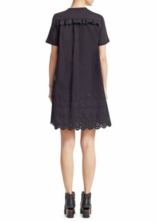 McQ Alexander McQueen Eyelet Ruffle Shift Dress