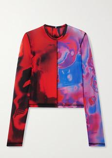 McQ Alexander McQueen Fantasma Cropped Printed Stretch-mesh Top