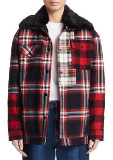 McQ Alexander McQueen Faux Fur Trimmed Flannel Jacket