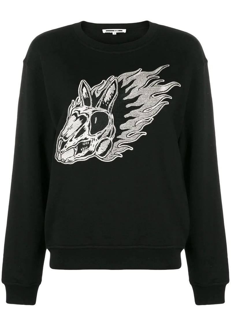 McQ Alexander McQueen Flame bunny embroidered sweatshirt