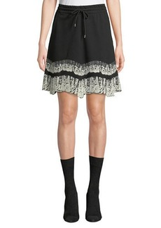 McQ Alexander McQueen Flared Drawstring Short Skirt with Lace Trim