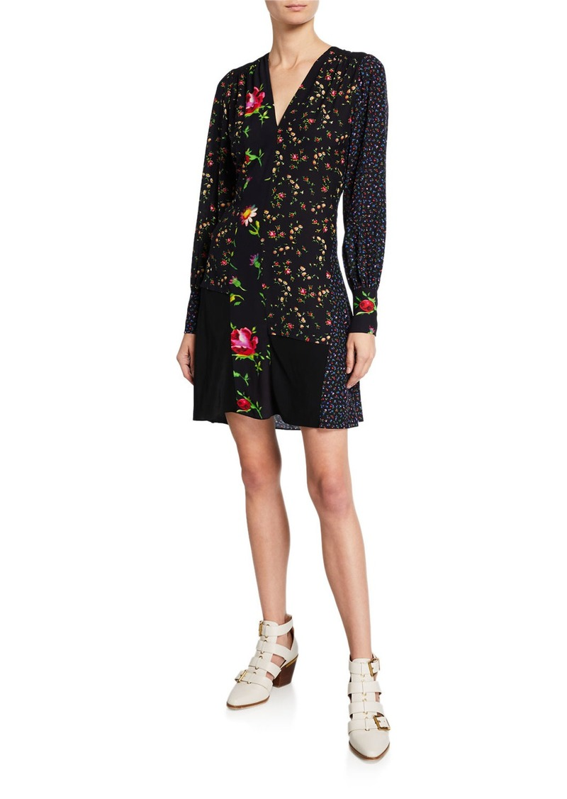 McQ Alexander McQueen Floral Patchwork Mini Boudoir Dress