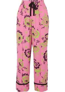 McQ Alexander McQueen Floral-print Crepe De Chine Pants