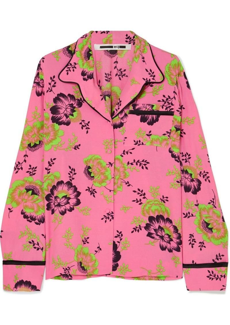 McQ Alexander McQueen Floral-print Crepe De Chine Shirt