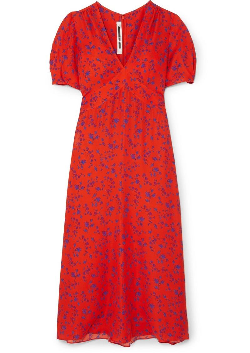 McQ Alexander McQueen Floral-print Silk-georgette Midi Dress