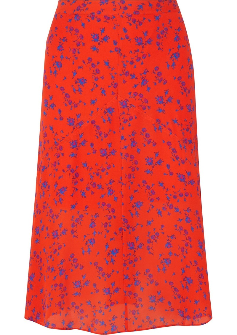 McQ Alexander McQueen Floral-print Silk-georgette Midi Skirt