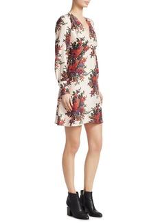 McQ Alexander McQueen Floral Silk A-line Dress