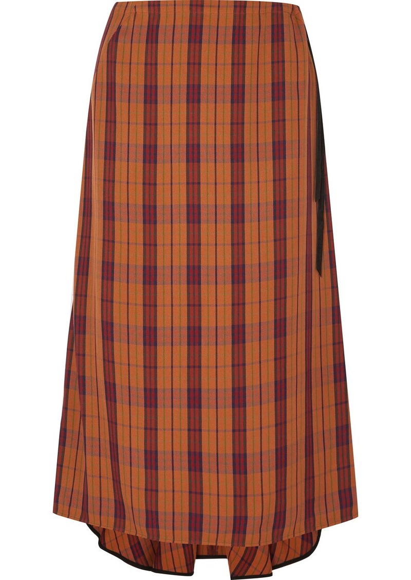 McQ Alexander McQueen Fluted Velvet-trimmed Checked Woven Skirt