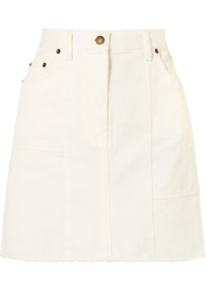 McQ Alexander McQueen Frayed Paneled Denim Mini Skirt