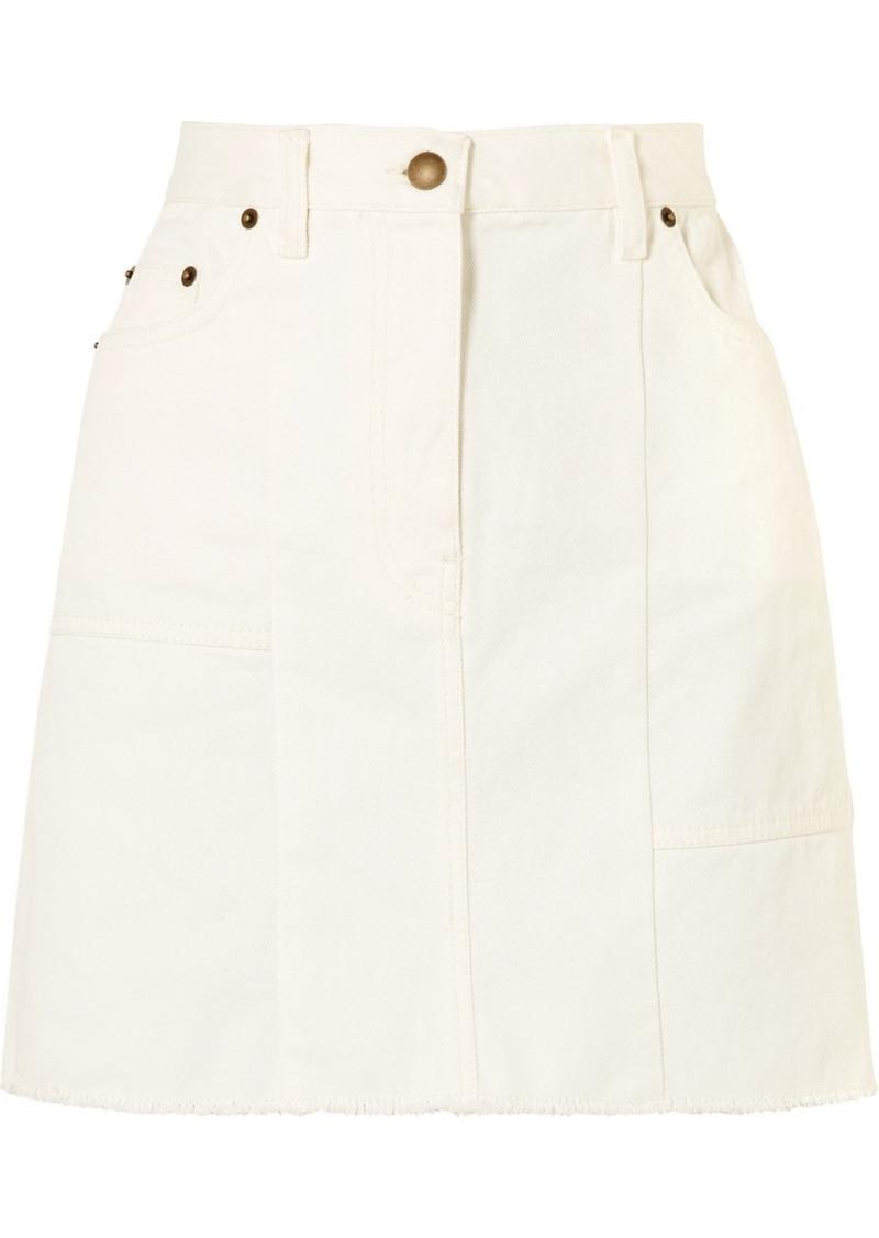 87449317b McQ Alexander McQueen Frayed Paneled Denim Mini Skirt | Skirts