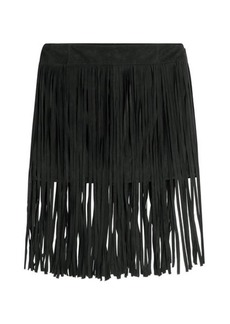 McQ Alexander McQueen Fringed Suede Mini Skirt