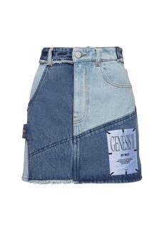 McQ Alexander McQueen Genesis Ii Patchwork Denim Mini Skirt