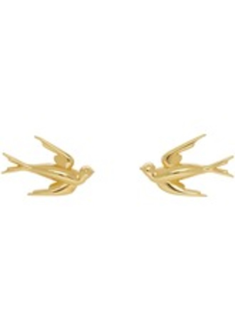 McQ Alexander McQueen Gold Swallow Stud Earrings