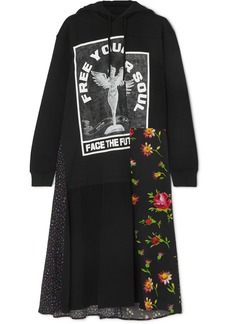 McQ Alexander McQueen Hooded Printed Cotton-jersey And Crepe Midi Dress