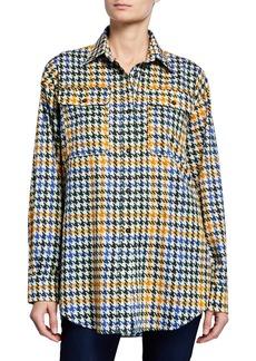 McQ Alexander McQueen Houndstooth Button-Down Boyfriend Shirt
