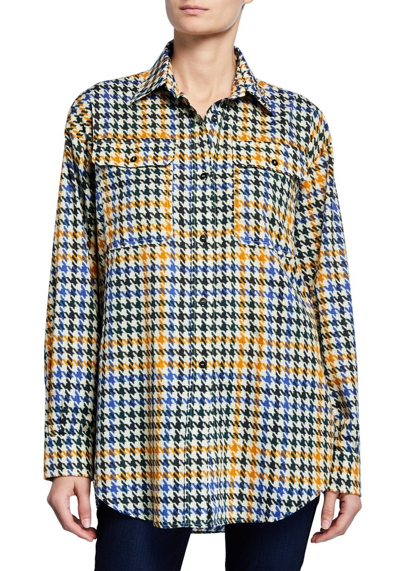 McQ Alexander McQueen Houndstooth Button-Down Boyfriend Shirt