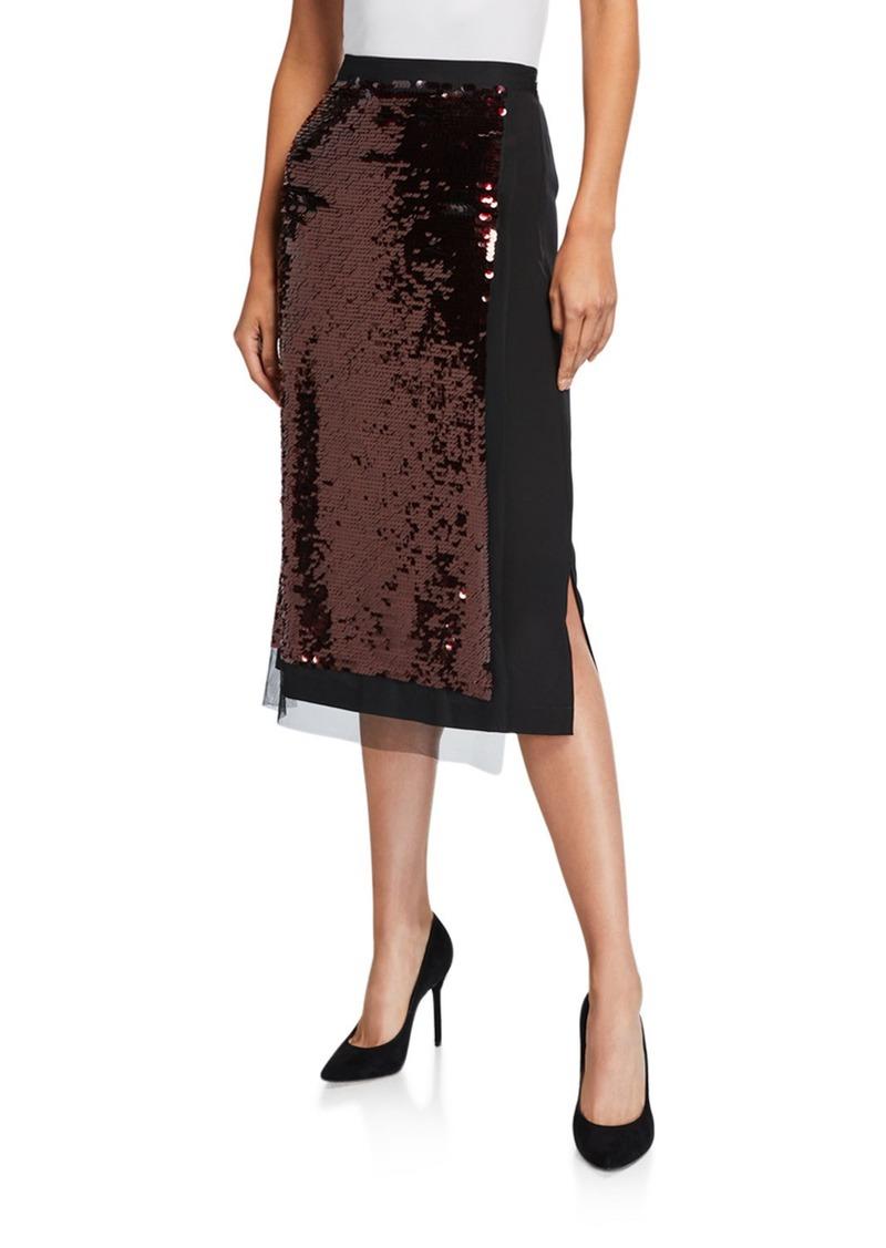 McQ Alexander McQueen Hybrid Sequined Tube Skirt