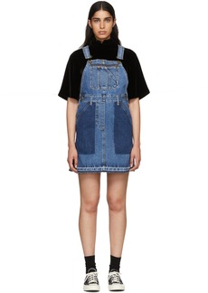 McQ Alexander McQueen Indigo Denim Mini Dungaree Dress