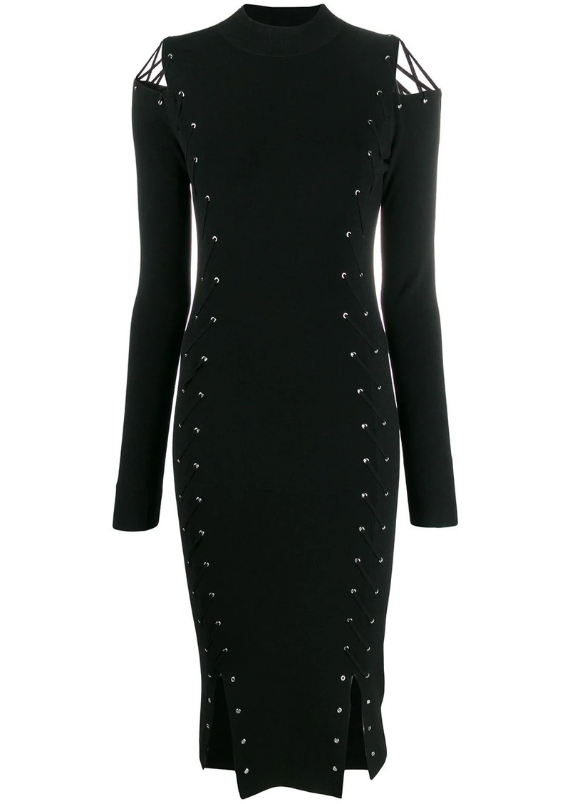 McQ Alexander McQueen knitted eyelet fitted dress