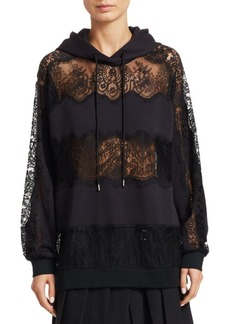 McQ Alexander McQueen Lace Inset Mixed Media Hoodie