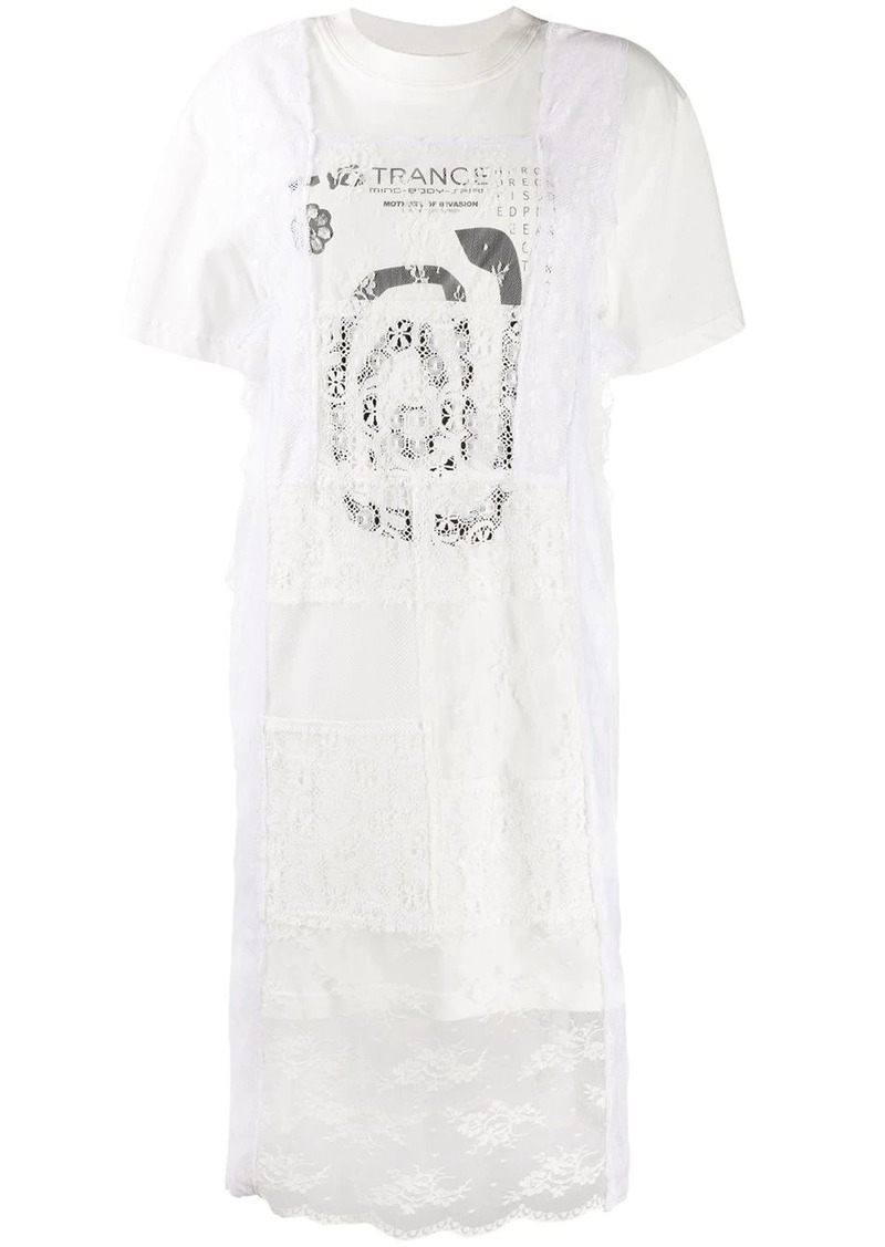 McQ Alexander McQueen lace layer T-shirt dress