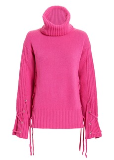 McQ Alexander McQueen Lace-Up Pink Sweater