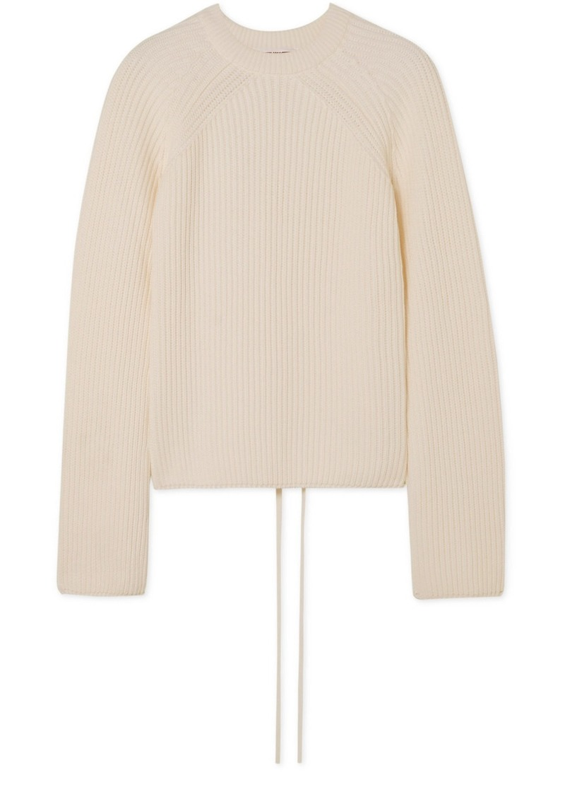 McQ Alexander McQueen Lace-up Ribbed Cotton Sweater