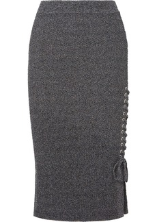 McQ Alexander McQueen Lace-up Ribbed-knit Cotton-blend Midi Skirt