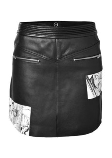 McQ Alexander McQueen Leather Mini-Skirt with Manga Print
