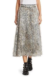 McQ Alexander McQueen Leopard Fuzzy A-Line Midi Skirt