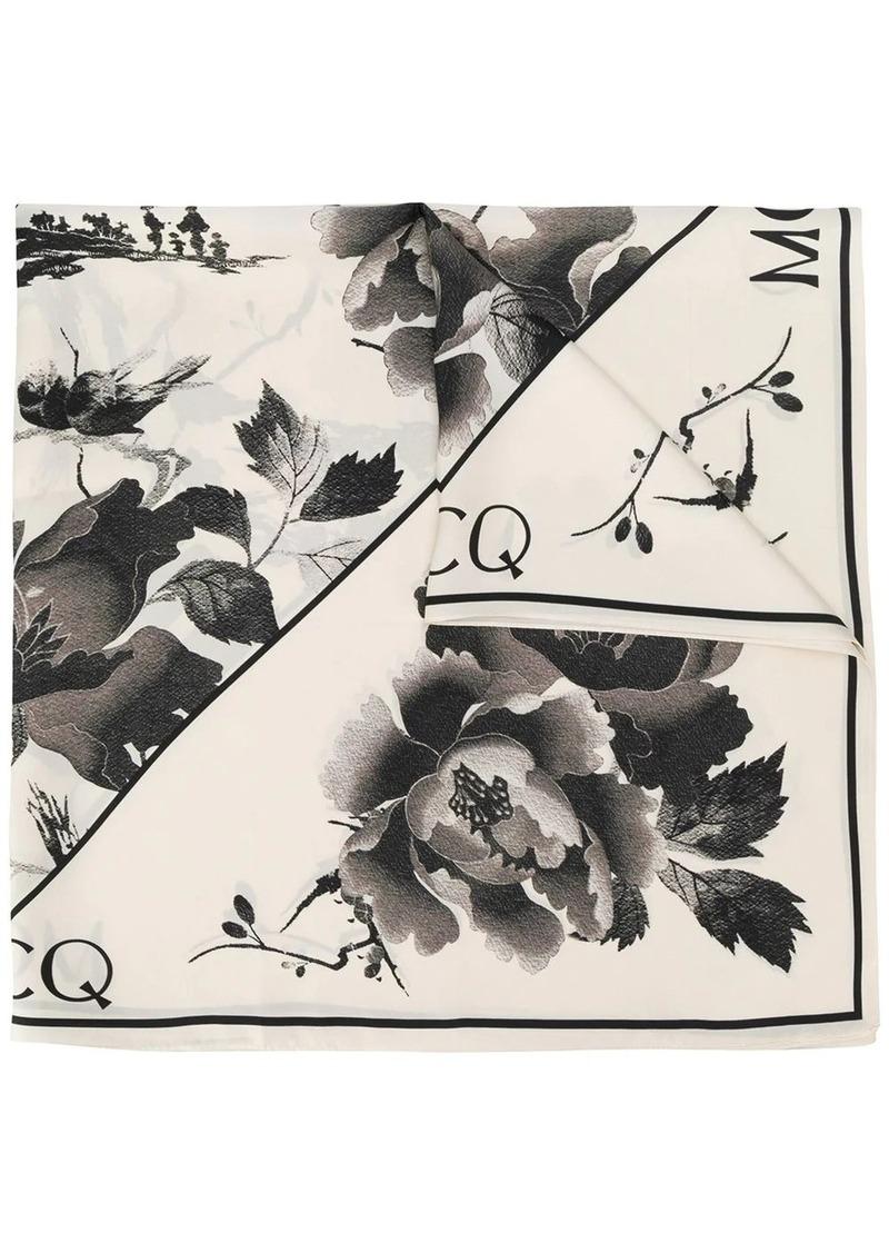McQ Alexander McQueen lightweight floral print scarf