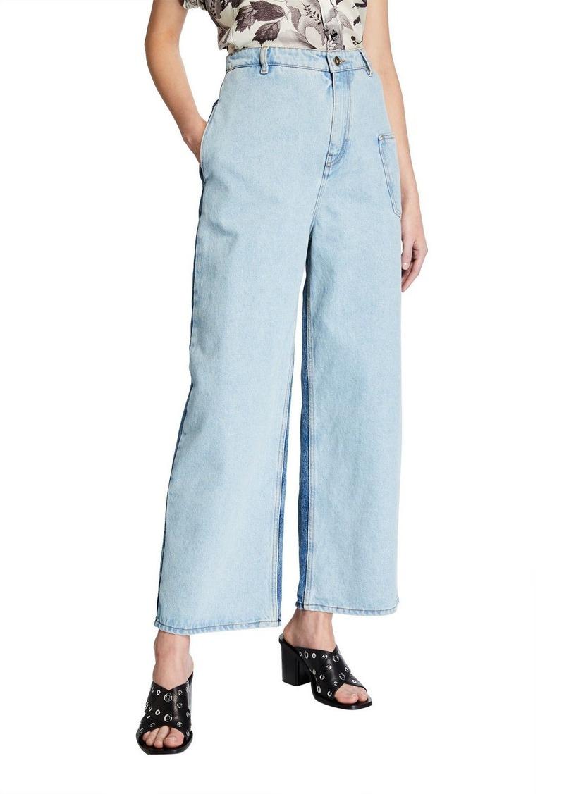 McQ Alexander McQueen Maru High-Rise Two-Tone Jeans
