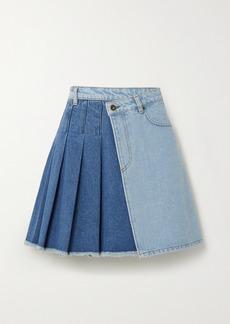 McQ Alexander McQueen Maru Pleated Two-tone Denim Wrap Mini Skirt