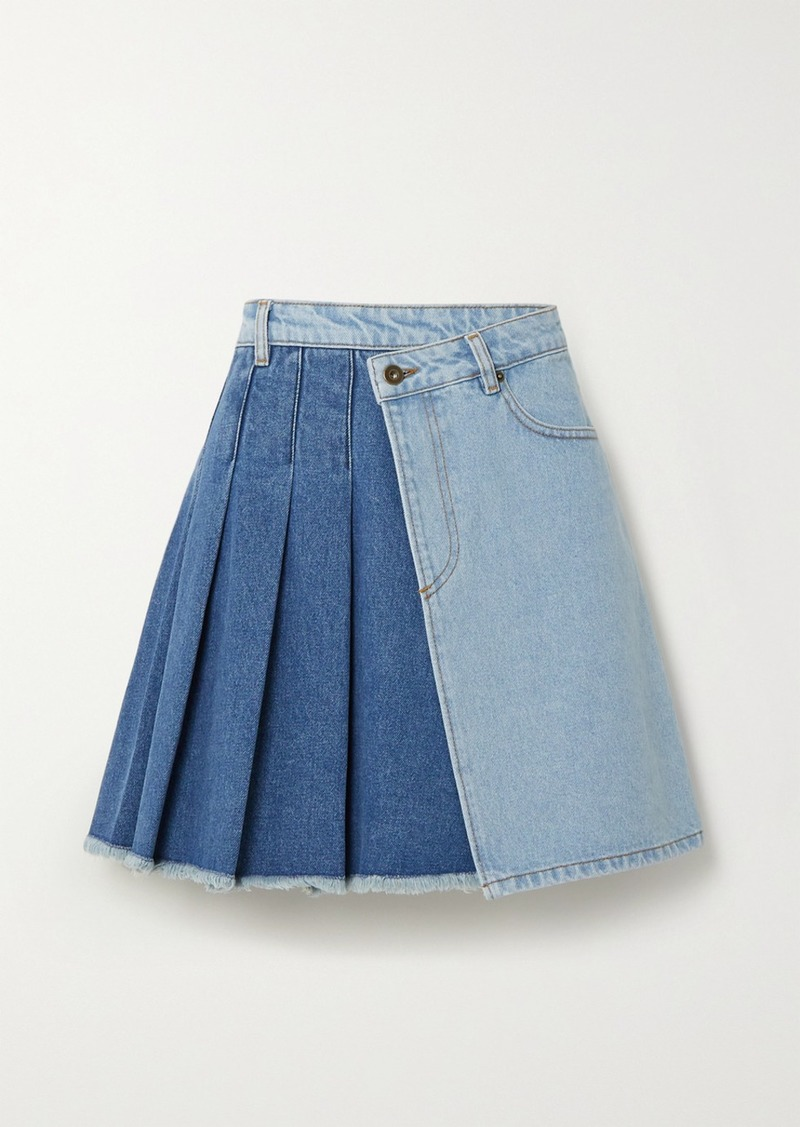 McQ Alexander McQueen Maru Pleated Two-tone Denim Wrap Mini Skirt