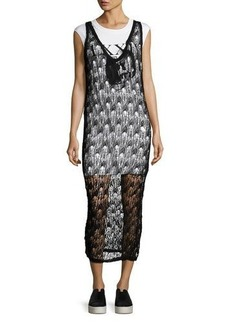 McQ Alexander McQueen 2-in-1 Sheer Netted V-Neck Midi Dress w/ Jersey Underlay