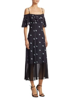 McQ Alexander McQueen Bird-Print Ruffle Dress
