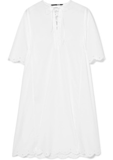 McQ Alexander McQueen Broderie Anglaise-trimmed Cotton-poplin Dress