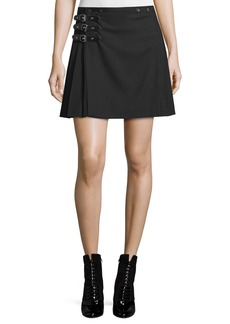 McQ Alexander McQueen Buckled Pleated A-Line Skirt