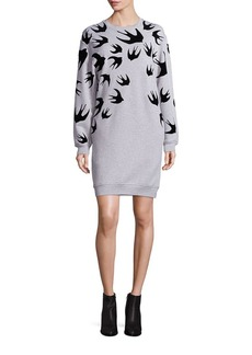 McQ Alexander McQueen Cotton Swallow-Print Sweatshirt Dress