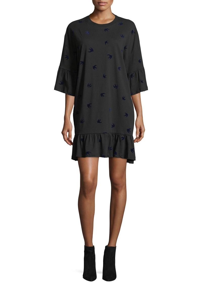 mcq alexander mcqueen mcq alexander mcqueen crewneck loose ruffle tee dress dresses shop it. Black Bedroom Furniture Sets. Home Design Ideas