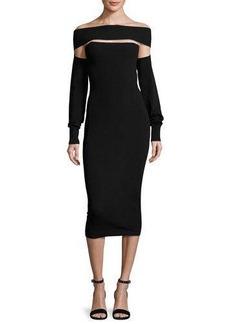 McQ Alexander McQueen Cutout Off-the-Shoulder Jersey Midi Dress
