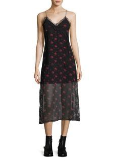 McQ Alexander McQueen Decon Floral-Print Chiffon Slip Dress w/ Lace