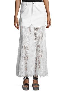 McQ Alexander McQueen Denim & Lace Maxi Skirt