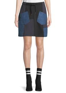 McQ Alexander McQueen Denim-Patch Drawstring Short Skirt